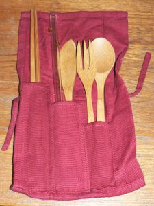 reusable utensils and glass straw