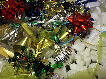 Christmas-ribbons-styrofoam-peanuts