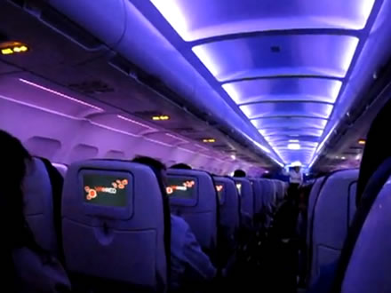 Virgin America mood lighting in cabin