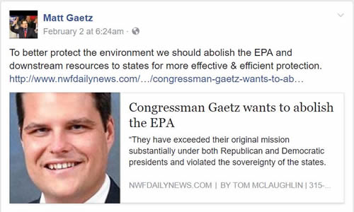 Rep Matt Gaetz wants to terminate the EPA