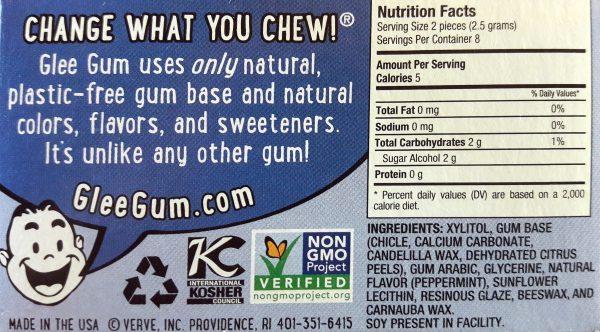 Glee Plastic-Free chewing gum ingredients