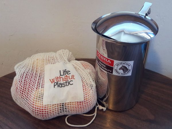 Life Without Plastic net produce bag and stainless steel pitcher