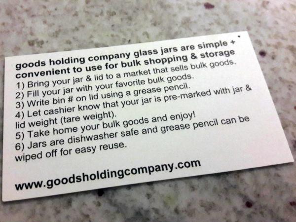Goods Holding Company bulk instructions