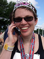 Beth talking on cell phone after marathon in January 2007