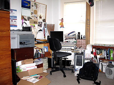 Beth's cluttered office in 2009