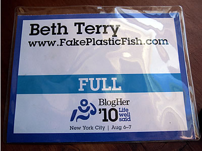 Blogher10 name badge