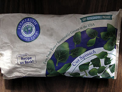 Stahlbush Island Farms biodegradable frozen spinach bag