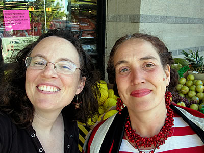 Tracey TieF and Beth Terry in front of Berkeley Bowl, Berkeley CA, 2010
