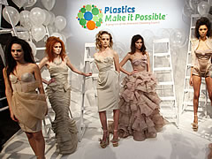 Wesfeld plastic dresses at New York Fashion Week sponsored by Plastics Make It Possible