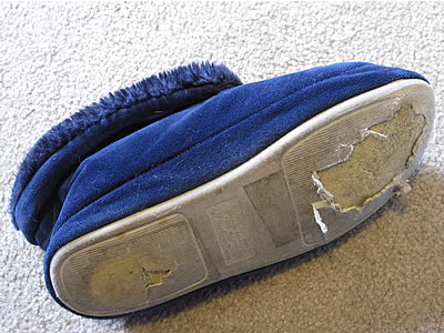 ripped up slipper sole