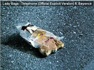 Lady Gaga plastic wrapper litter Telephone video
