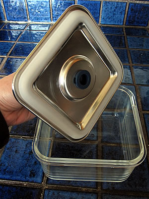 airtight glass food storage container